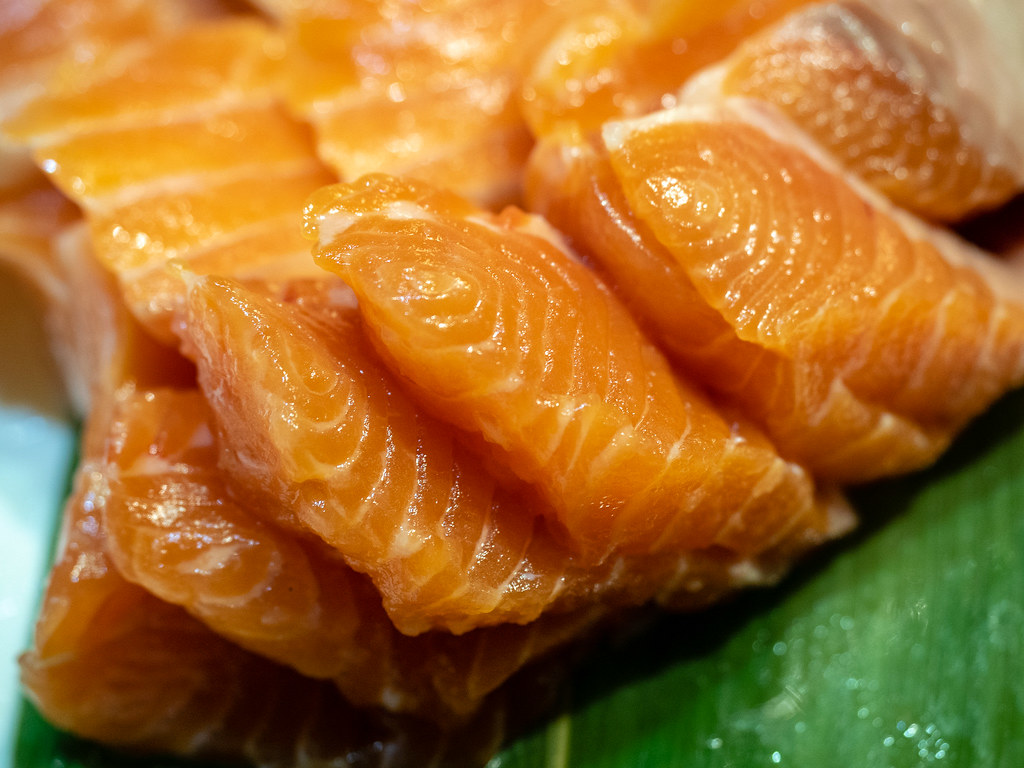 Jogoya buffet's fresh salmon sashimi