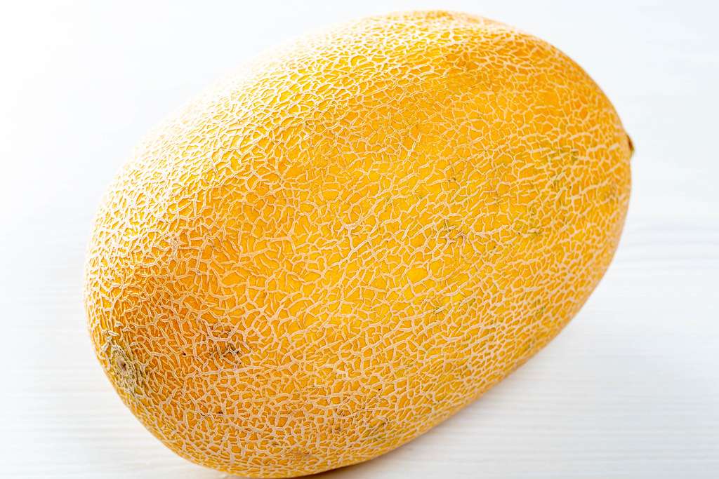 Fresh Yellow Melon On White Wooden Table Marco Verch Is