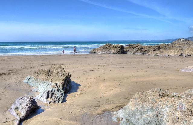Sandy beach in Whitsand Bay, Cornwall