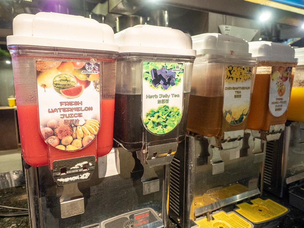 Juice and herbal tea at Jogoya.