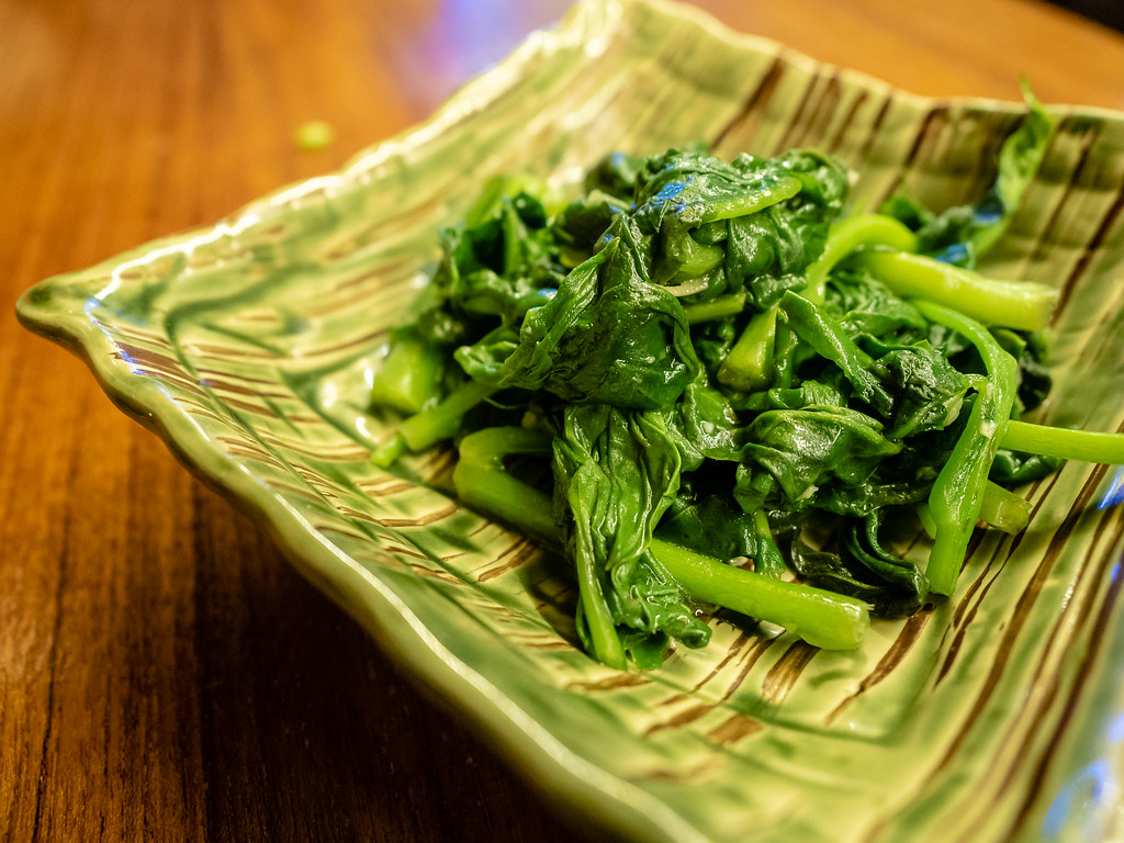 Jogoya's stir-fried water spinach.