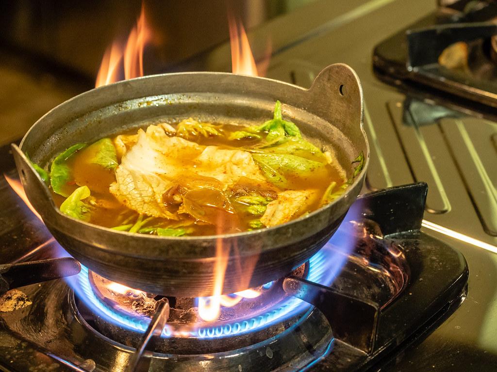 Clay pot Tom Yum Noodle Soup at Jogoya.