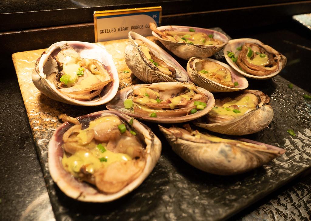 Jogoya's grilled giant purple clam.