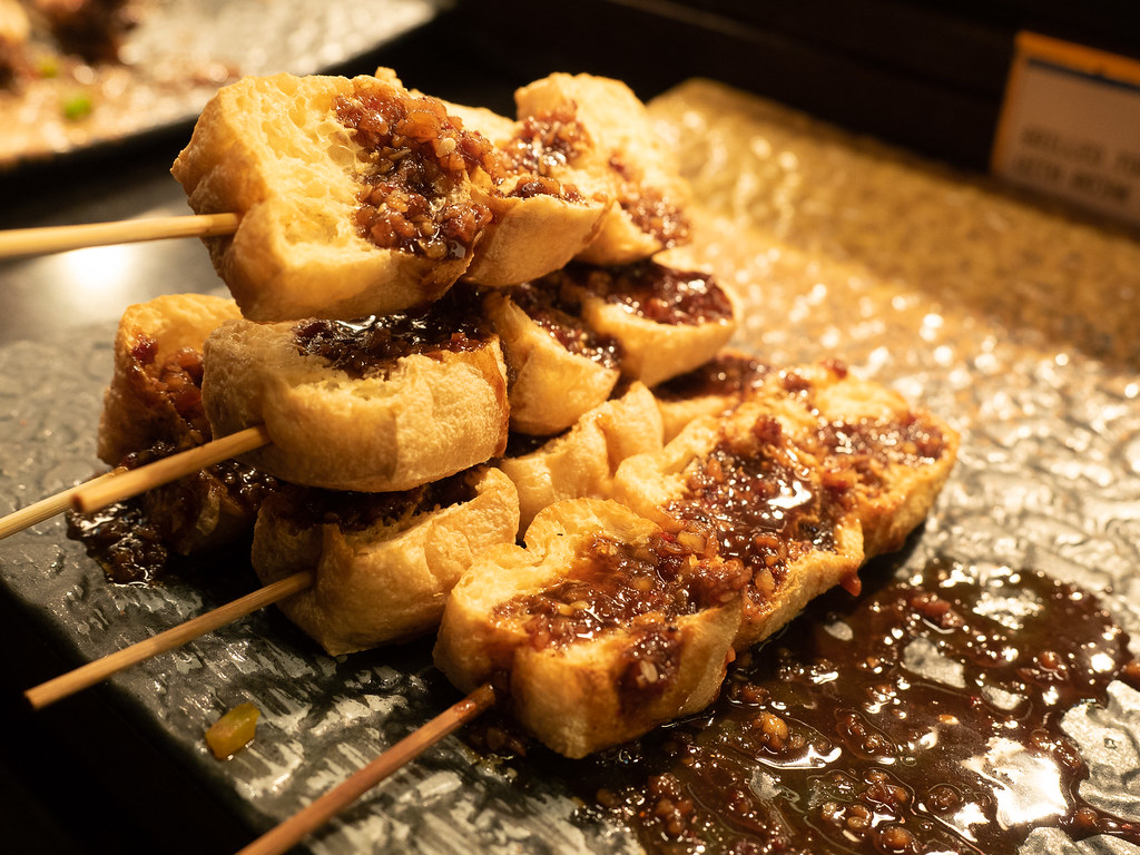 Grilled tofu at Japanese buffet section.