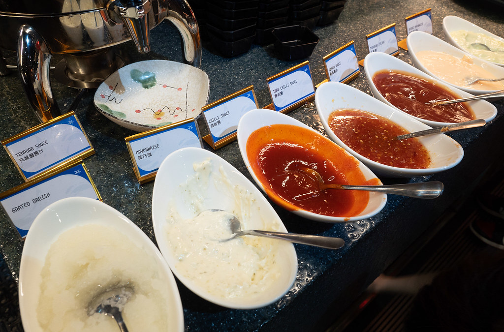Sauces for dipping fried food at Jogoya Buffet.