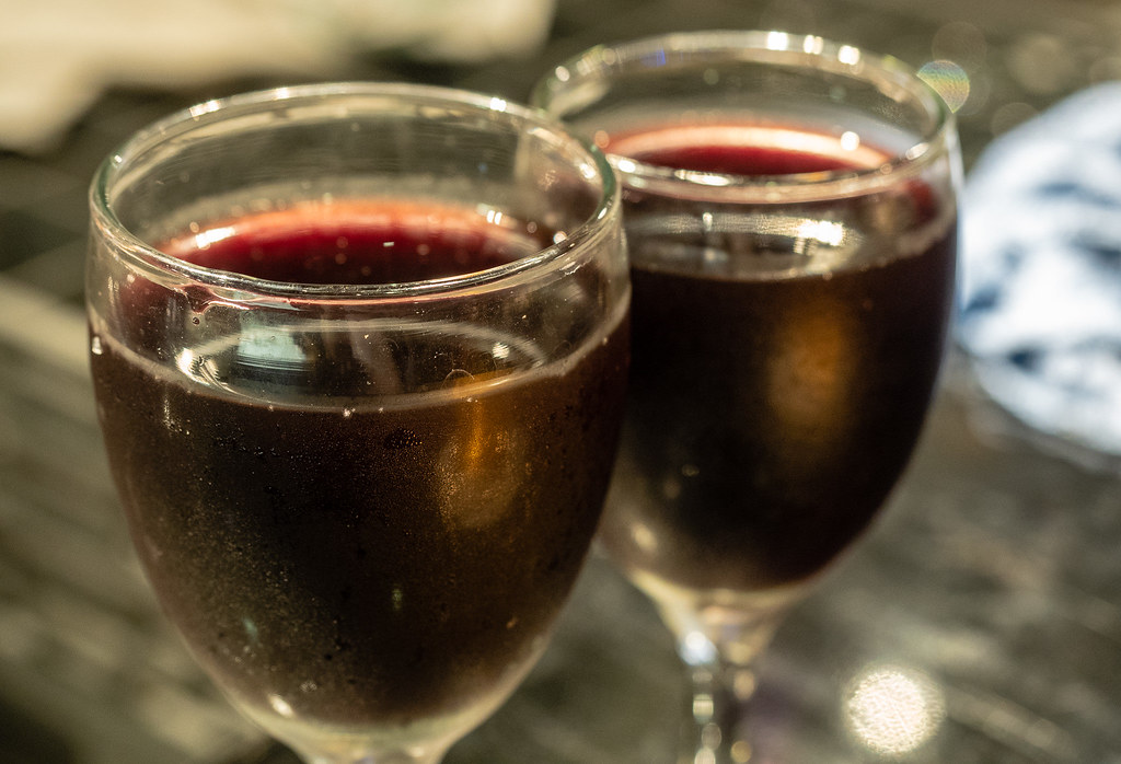 Red wine at Jogoya's Buffet Restaurant.