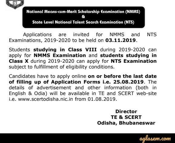 Odisha NMMS 2019 – 2020 for Class VIII – Notification, Application