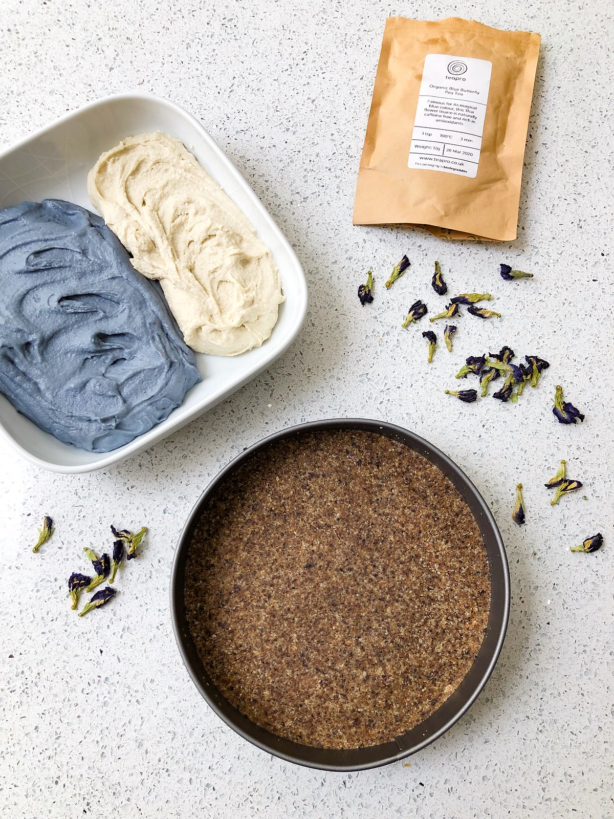 Step 4 blue butterfly pea cheesecake