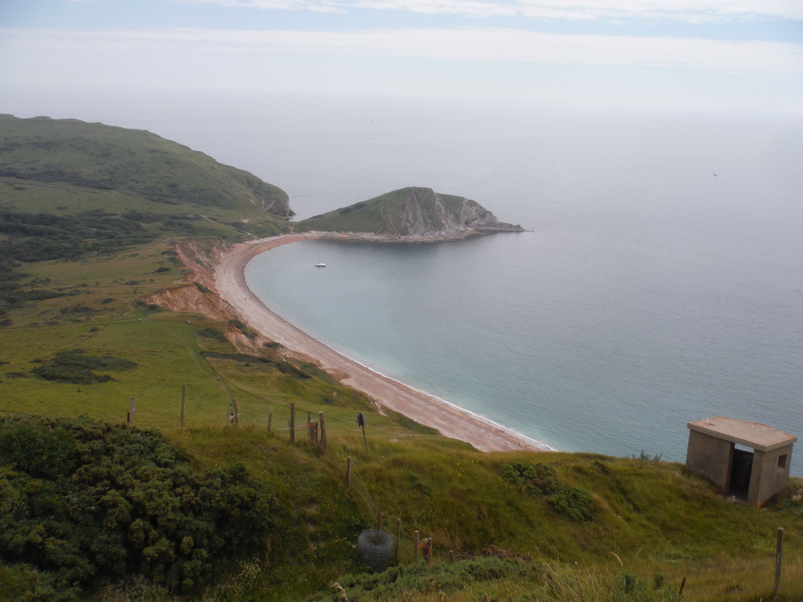 Worbarrow Bay from start of descent off Rings Hill/Flower's Barrow Hillfort SWC Walk 54 - Lulworth Cove Circular (via Tyneham and Durdle Door)
