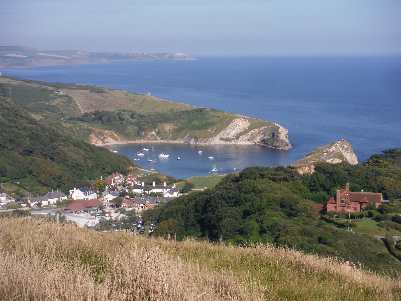 Lulworth Cove, from halfway up Hambury Tout SWC Walk 54 - Lulworth Cove Circular (via Tyneham and Durdle Door)