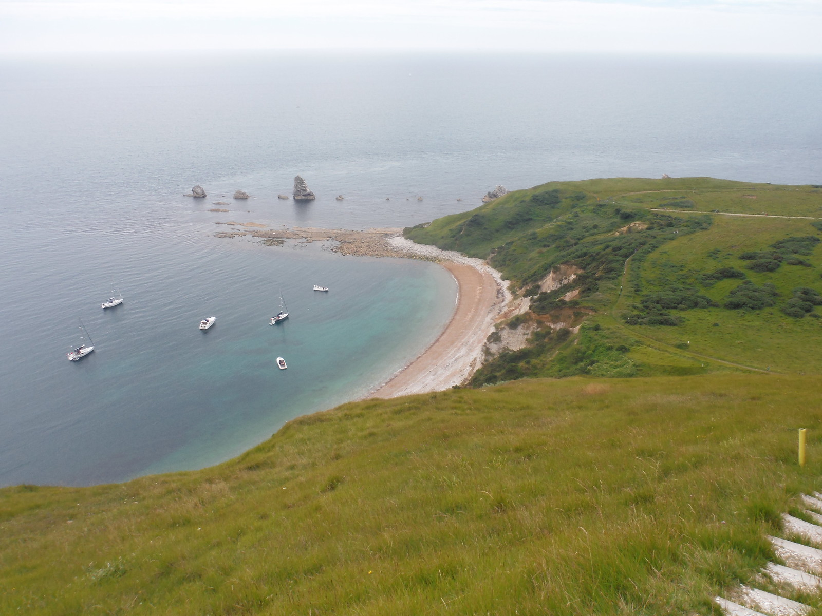 Mupe Bay from path up Bindon Hill SWC Walk 54 - Lulworth Cove Circular (via Tyneham and Durdle Door)