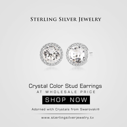 Crystal Color Stud Earrings Adorned with Crystals from Swarovski®
