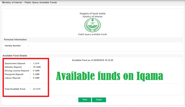 How to check available funds on Iqama through MOI? - Life in