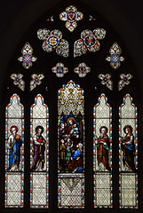 'Suffer little children to come unto me' flanked by the four Evangelists (Ward & Hughes, 1860s)