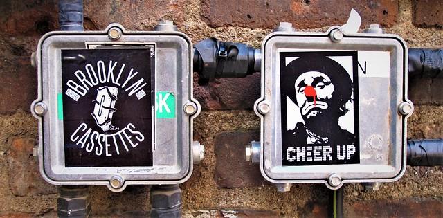 Stickers. Brooklyn CASSETTES.  CHEER UP . Lower Manhattan