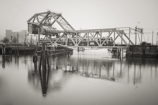 Train on old bascule bridge