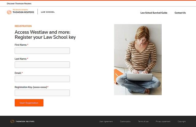 Westlaw Password Registration Page