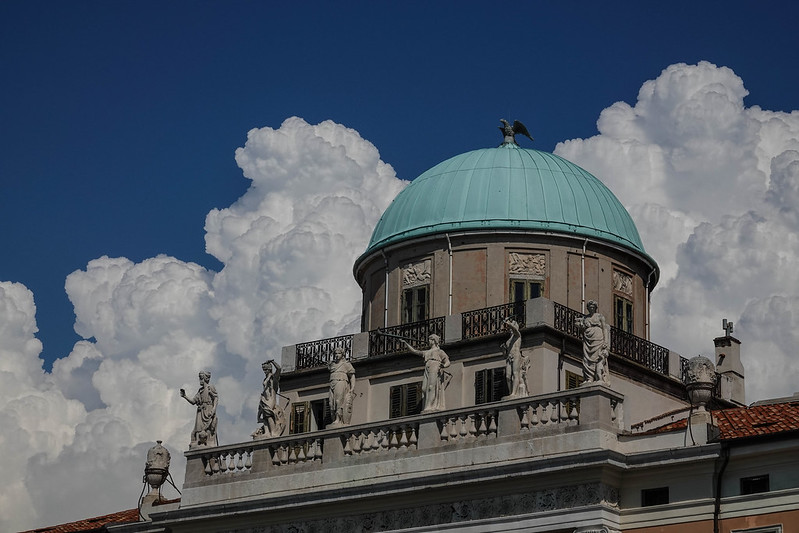 The building top with a cloud background