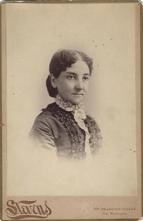 Laura A. Thyng (Cabinet Card by John K. Stevens, 108 Dearborn Street, Chicago, Illinois)