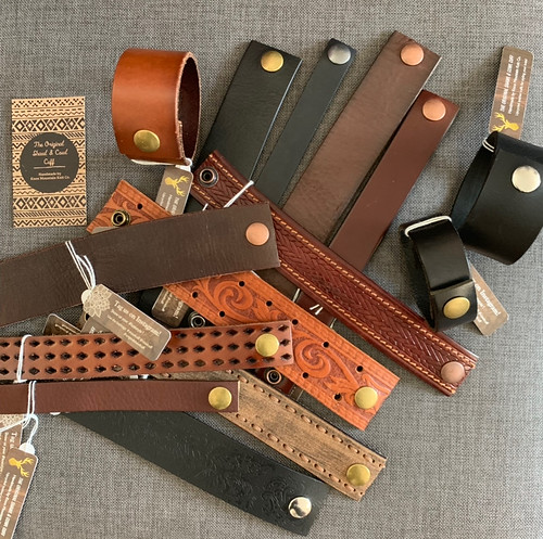 Look what landed in the shop!! Functional and fashionable up cycled leather cuffs from @knoxmountainknitco that are perfect for holding your shawl in place, on your cowl or your wrist!