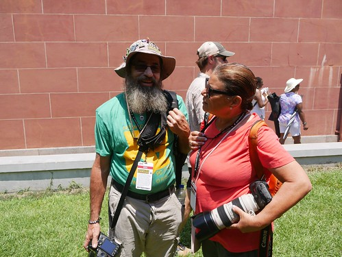 WWOZ photographers Michael E. McAndrew and Michele Goldfarb at work at Satchmo Summer Fest - August 2, 2019. Photo by Louis Crispino.