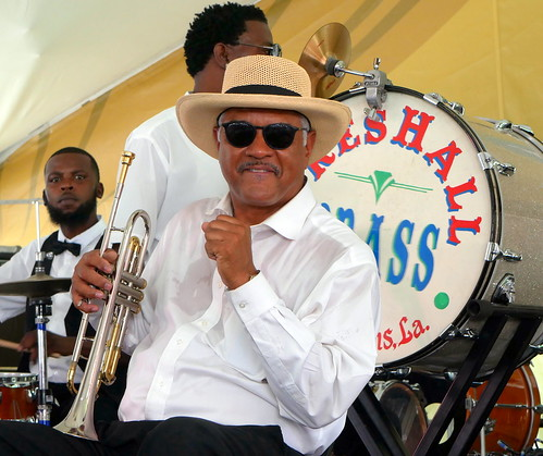 Wendell Brunious with Preservation Brass at Satchmo Summer Fest - August 2, 2019. Photo by Louis Crispino.