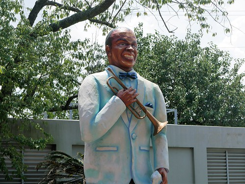 Louis Armstrong overlooks it all at Satchmo Summer Fest - August 2, 2019. Photo by Louis Crispino.