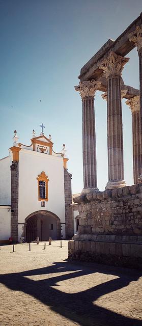 Roman temple of Evora, Portugal and  St. John the Evangelist Church