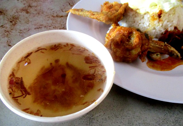Complimentary soup & chicken wing