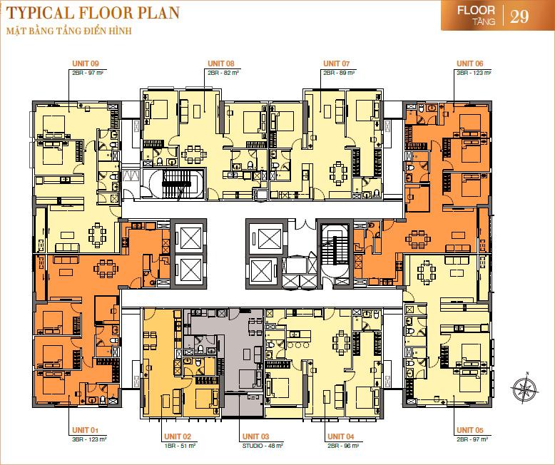 RichLane Residences: mặt bằng tầng 29.