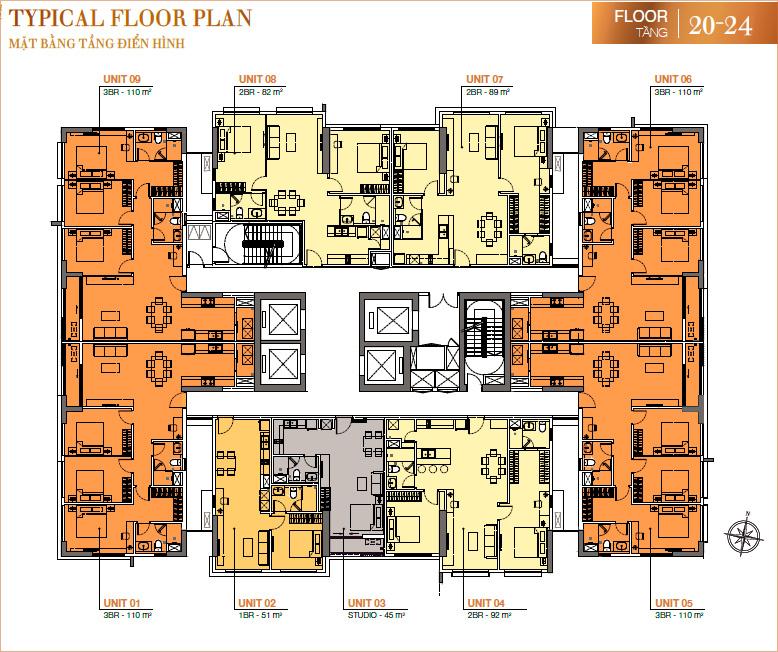 RichLane Residences: Mặt bằng tầng 20-24.