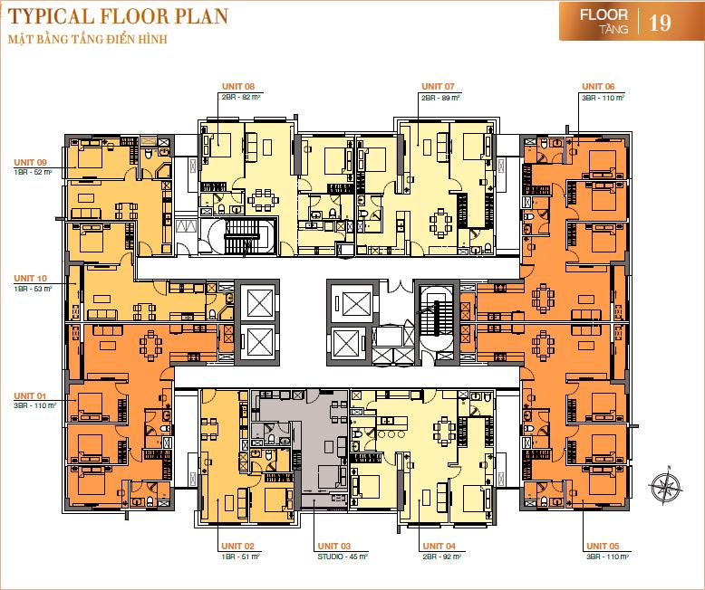 RichLane Residences: Mặt bằng tầng 19.