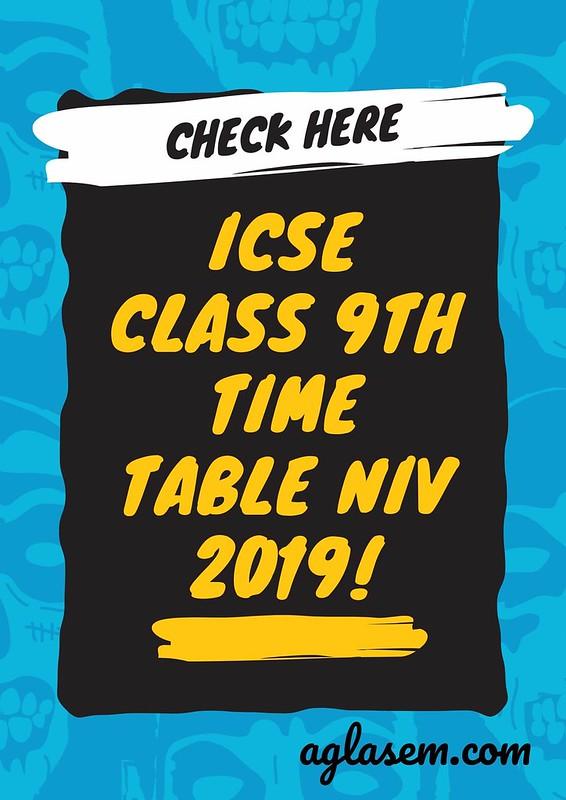 ICSE 9th Time Table November 2019