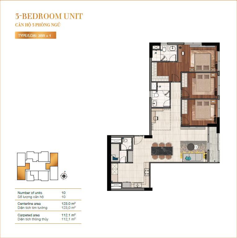 Layout căn hộ 3PN RichLane Residences quận 7.
