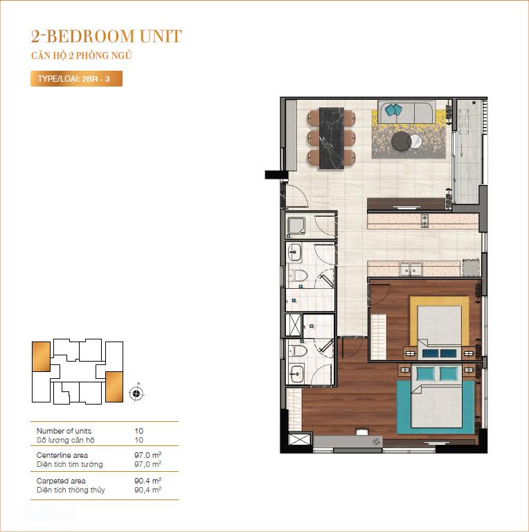 Layout căn hộ 2 phòng ngủ RichLane Residences quận 7.