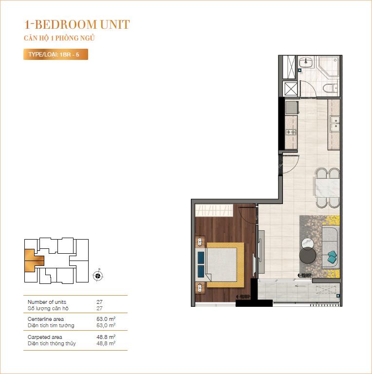 Mặt bằng căn hộ 1 phòng ngủ RichLane Residences.