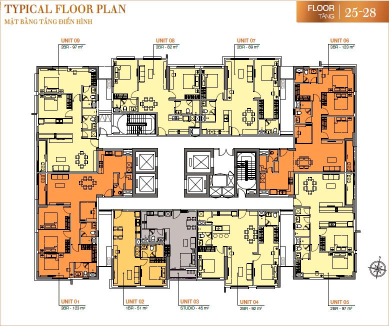 RichLane Residences: mặt bằng tầng 25-28.