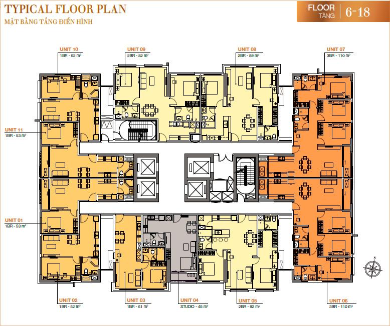 RichLane Residences: mặt bằng tầng 6-18.