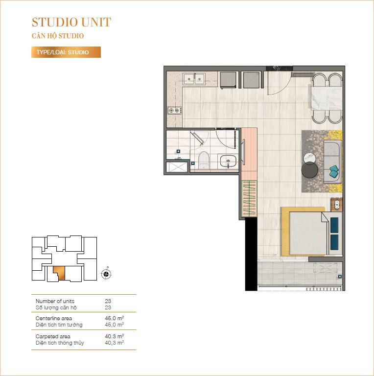 Mặt bằng căn hộ Studio tại RichLane Residences.