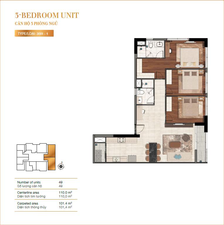 Mặt bằng căn hộ 3 phòng ngủ RichLane Residences quận 7.