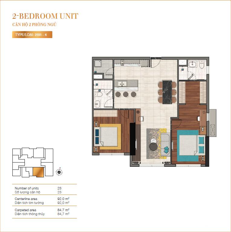Thiết kế căn 2PN dự án RichLane Residences quận 7.