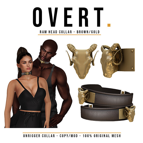 Overt. Ram Head Collar – Brown Gold Advert PNG