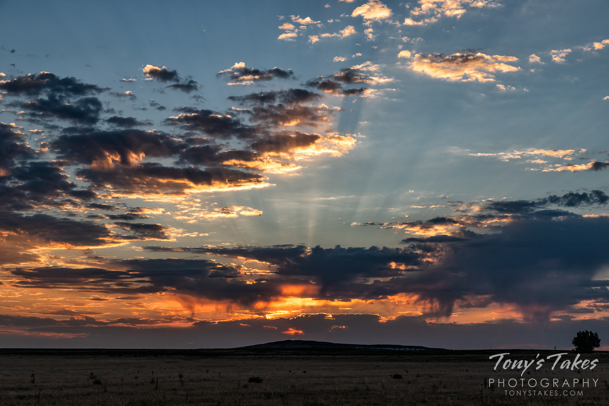 Crepuscular rays emanate from the rising sun. (© Tony's Takes)