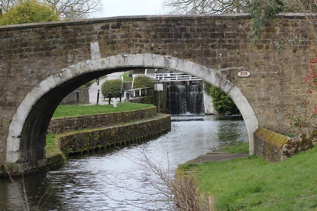 Dowley Gap Locks seen under the bridge.