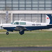 HB-DFN - 1979 build Mooney M.20J Model 201, arriving on Runway 24 at Friedrichshafen during Aero 2019
