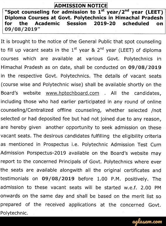 HP LEET 2019 Spot Counselling | AglaSem Admission