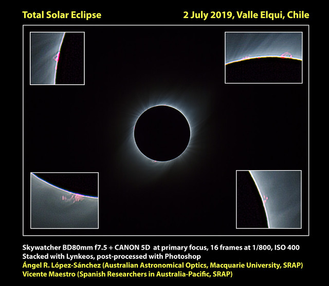 Promiences during Total solar eclipse 2 July 2019, Chile