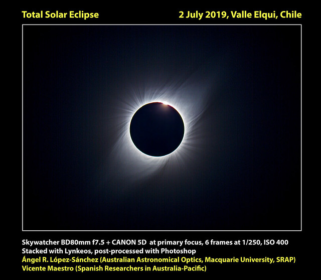 Diamond ring, 2nd contact, total solar eclipse 2 July 2019, Chile