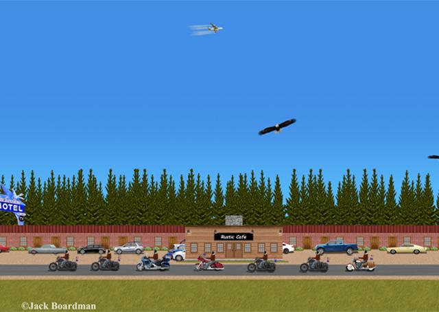 The Posse™ Rode past The Blue Swallow Motel ©Jack Boardman