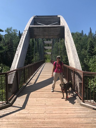Ouimet Canyon - Linda on the bridge with Hector | by Pierre Yeremian